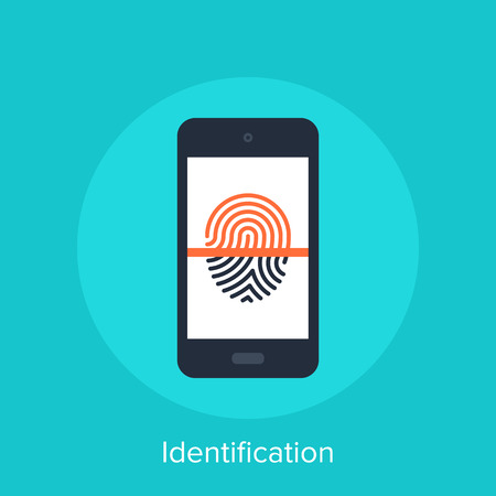 finger print: Vector illustration of identification flat design concept.