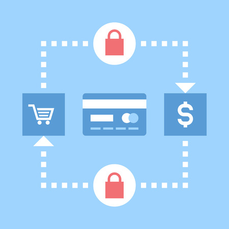 transakcji: Abstract vector illustration of secure transactions flat design concept.