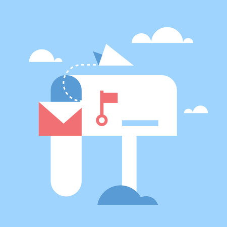 Abstract vector illustration of email marketing flat design concept.
