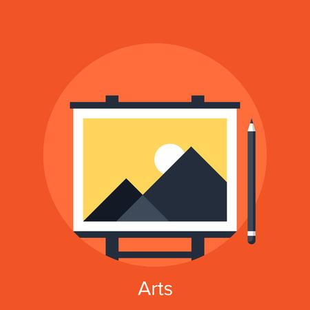 artboard: Abstract vector illustration of arts flat design concept.