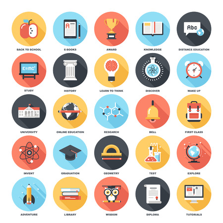 Abstract vector set of colorful flat education and knowledge icons with long shadow. Creative concepts and design elements for mobile and web applications. Ilustração