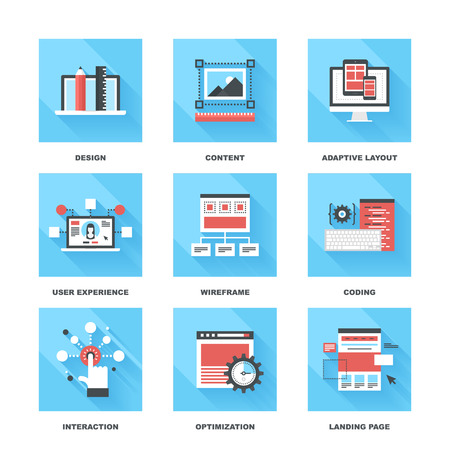 user experience design: Vector set of flat web development icons on following themes - design, content, adaptive layout, user experience, wireframe, coding, interaction, optimization, landing page
