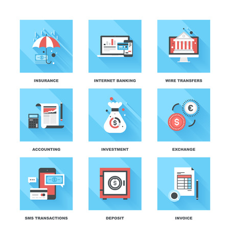 Vector set of flat banking and finance icons on following themes - insurance, internet banking, wire transfers, accounting, investment, exchange, sms transactions, deposit, invoice
