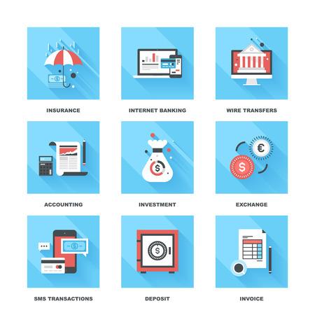contabilidad: Vector conjunto de banca y finanzas iconos planos en siguientes temas - seguros, banca por Internet, transferencias bancarias, contabilidad, inversi�n, intercambio, transacciones sms, dep�sito, factura Vectores
