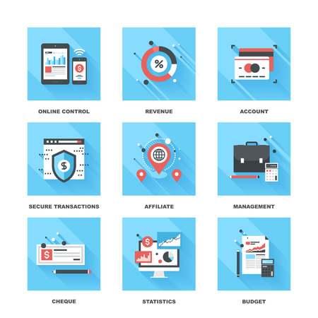 protection icon: Vector set of flat banking and finance icons on following themes - online control, revenue, account, secure transactions, affiliate, management, cheque, statistics, budget