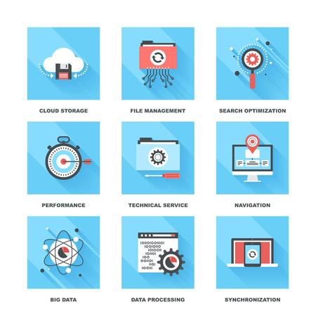 proceso: Vector conjunto de iconos de gestión de datos apoyados en siguientes temas - almacenamiento en la nube, gestión de archivos, búsqueda de optimización, rendimiento, servicio técnico, la navegación, los grandes datos, procesamiento de datos, sincronización Vectores
