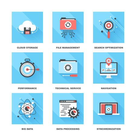 files: Vector set of flat data management icons on following themes - cloud storage, file management, search optimization, performance, technical service, navigation, big data, data processing, sync