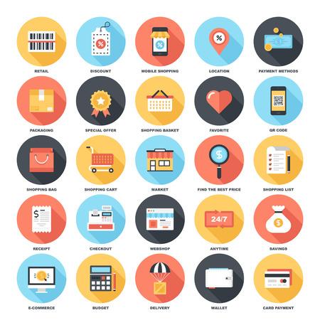 Streszczenie wektor zestaw kolorowych płaskich sklepów i handlu ikony z długim cieniem. Pień koncepcje i elementy projektu dla aplikacji mobilnych i internetowych.