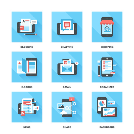 Abstract vector set of flat and colorful mobile applications and services icons.  イラスト・ベクター素材