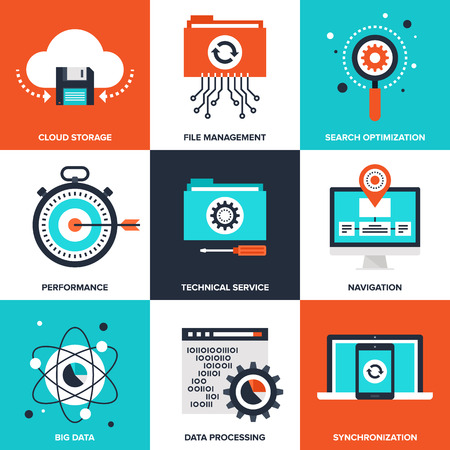 document management: Vector conjunto de iconos de gestión de datos apoyados en siguientes temas - almacenamiento en la nube, gestión de archivos, búsqueda de optimización, rendimiento, servicio técnico, la navegación, los grandes datos, procesamiento de datos, sincronización Vectores