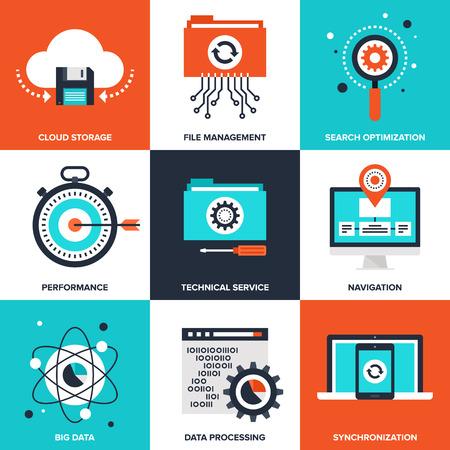 Vector set van platte data management pictogrammen op de volgende thema's - cloud storage, file management, zoekmachine optimalisatie, prestaties, technische dienst, navigatie, big data, data processing, sync