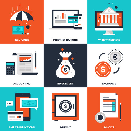 invoices: Vector set of flat banking and finance icons on following themes - insurance, internet banking, wire transfers, accounting, investment, exchange, sms transactions, deposit, invoice