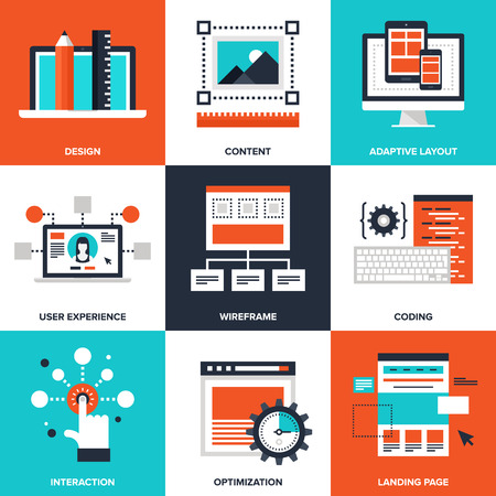 content management: Vector set of flat web development icons on following themes - design, content, adaptive layout, user experience, wireframe, coding, interaction, optimization, landing page