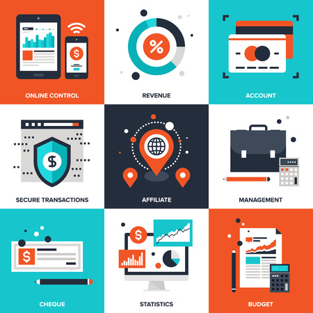 information international: Vector set of flat banking and finance icons on following themes - online control, revenue, account, secure transactions, affiliate, management, cheque, statistics, budget