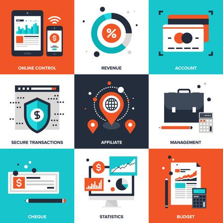 transakcji: Wektor zestaw płaskich ikon bankowości i finansów na następujących tematach - sterowaniem w trybie online, dochodów, rachunku, bezpiecznych transakcji, partner, zarządzania, sprawdź, statystyki, budżet Ilustracja