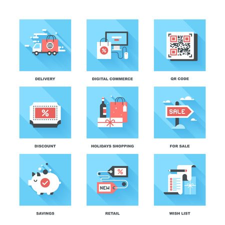 sale shop: Vector set of flat shopping and commerce icons. Icon pack includes following themes - delivery, ecommerce, QR code, discount, holidays shopping, for sale, savings, new product, wish list