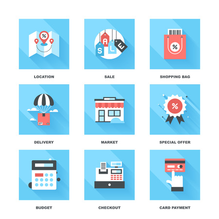 retail: Vector set of flat shopping and commerce icons with long shadow. Icon pack includes following themes - location, sale, retail, delivery, market, discount, budget, new product, card payment