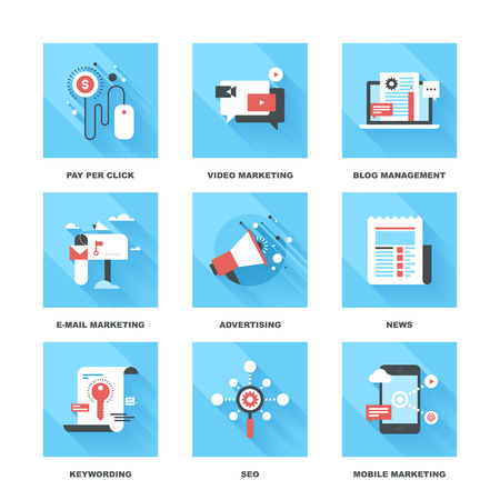 Vector set of flat digital marketing icons. Icon pack includes following themes - pay per click, video marketing, blog management, email marketing, promotion, news, keywording, SEO, mobile marketing Illustration
