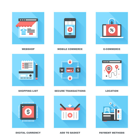 webshop: Vector set of flat digital commerce icons on following themes - webshop, mobile commerce, ecommerce, shopping list, secure transactions, navigation, digital money, add to basket, payment methods.