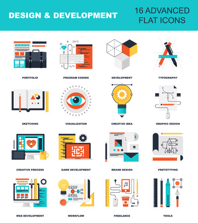 Abstract flat vector illustration of design and development concepts. Elements for mobile and web applications. Ilustração
