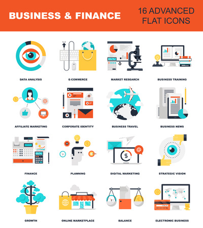 global finance: Abstract flat vector illustration of business and finance concepts. Elements for mobile and web applications.