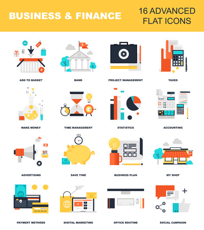 contabilidad: Vector colecci�n de conceptos de negocios y finanzas planas y colores. Los elementos de dise�o para la web y las aplicaciones m�viles. Vectores