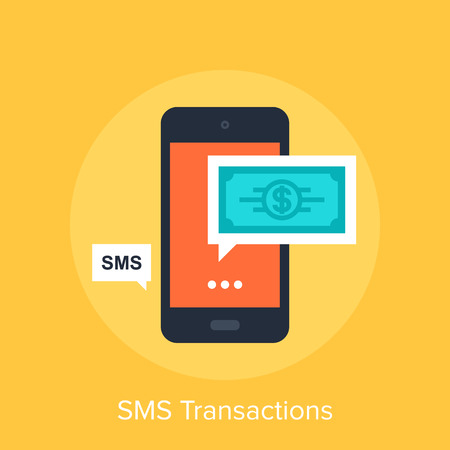 transakcji: Vector illustration of SMS transactions flat design concept.
