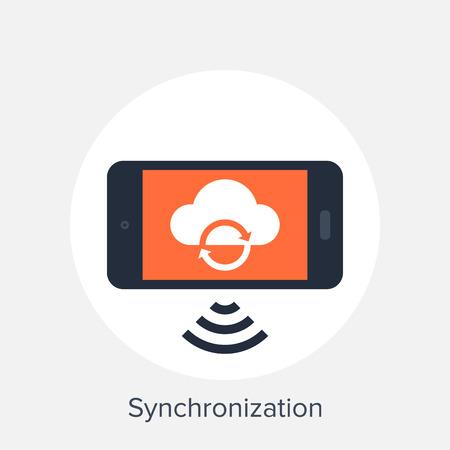synchronization: Vector illustration of synchronization flat design concept. Illustration