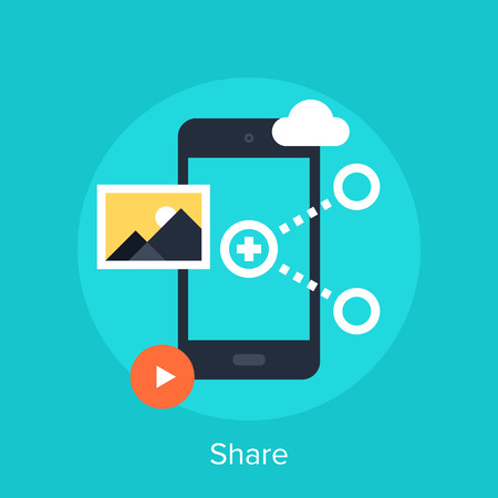 picture: Vector illustration of data sharing flat design concept.