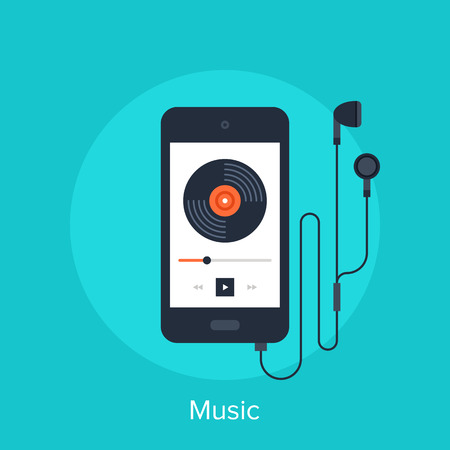 phone icon: Vector illustration of music player flat design concept. Stock Photo