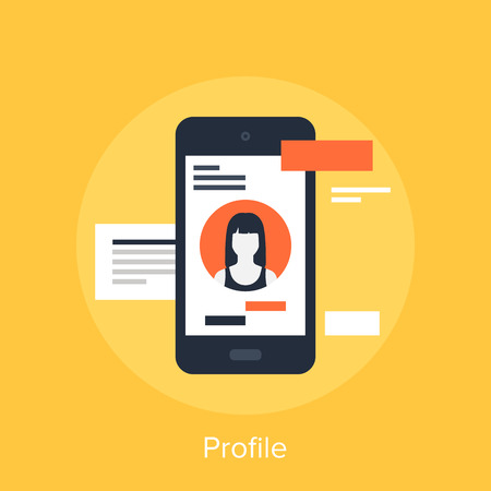 call log: Vector illustration of user profile flat design concept.