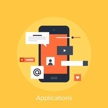 Vector illustratie van mobiele applicaties platte design concept. Stockfoto