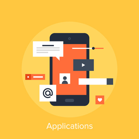 mobile application: Vector illustration of mobile applications flat design concept. Stock Photo