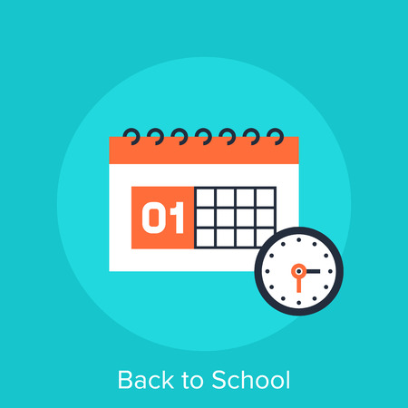 event icon: Abstract vector illustration of back to school flat design concept.