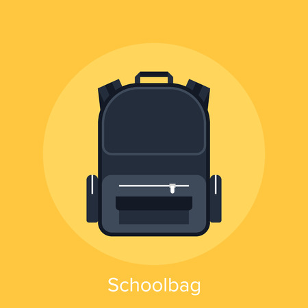 schoolbag: Abstract vector illustration of schoolbag flat design concept.