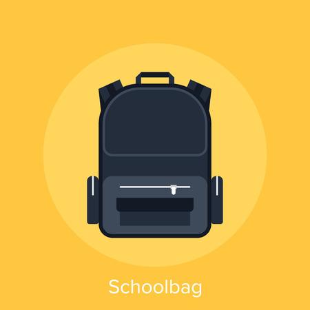 schoolbag: Abstract vector illustration of schoolbag flat design concept.