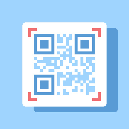 Abstract vector illustration of QR code flat design concept.