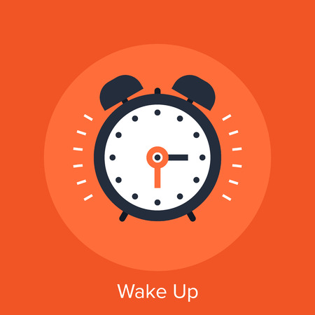 Abstract vector illustration of wake up flat design concept. Çizim