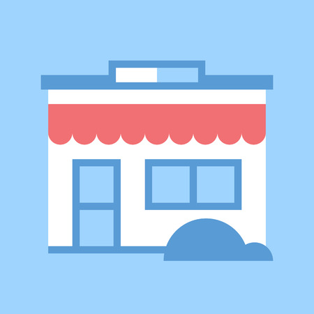 cash register building: Abstract vector illustration of store flat design concept.