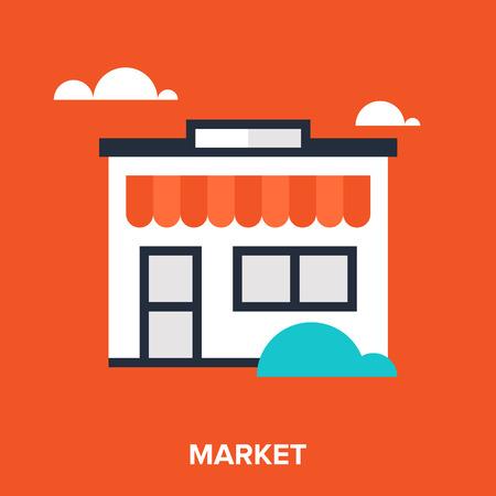 cash register building: store icon Illustration