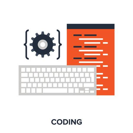 computer keyboard: program coding Illustration