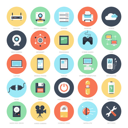 digital media: Abstract vector set of colorful flat technology and hardware icons. Creative concepts and design elements for mobile and web applications.