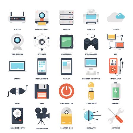 화려한 평면 기술과 하드웨어 아이콘의 추상 벡터 집합입니다. 창조적 인 개념과 모바일 및 웹 애플리케이션을위한 디자인 요소입니다.