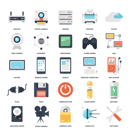 web hosting: Abstract vector set of colorful flat technology and hardware icons. Creative concepts and design elements for mobile and web applications.