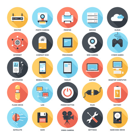 information systems: Abstract vector set of colorful flat technology and hardware icons with long shadow. Creative concepts and design elements for mobile and web applications.