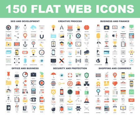 technology: Vector sada 150 plochých web ikon na následující témata - SEO a vývoj, tvůrčímu procesu, obchodu a financí, kancelář a podnikání, bezpečnost a ochranu, nakupování a obchodu. Ilustrace