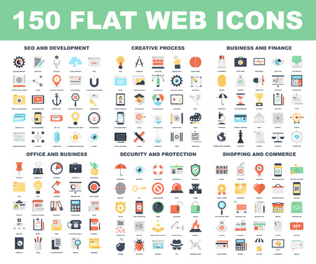 information management: Vector set of 150 flat web icons on following themes - SEO and development, creative process, business and finance, office and business, security and protection, shopping and commerce.