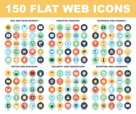 affari: Vector set di 150 piatti icone web su seguenti temi - SEO e di sviluppo, processo creativo, di business e finanza, ufficio e business, sicurezza e protezione, negozi e del commercio.