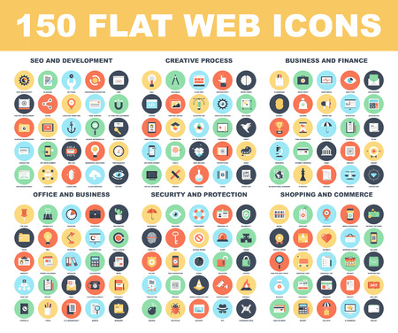 devices: Vector set of 150 flat web icons on following themes - SEO and development, creative process, business and finance, office and business, security and protection, shopping and commerce.