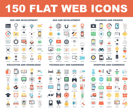 finances: Vector set of 150 flat web icons on following themes - SEO and development, business and finance, education and knowledge, technology and hardware, shopping and commerce.